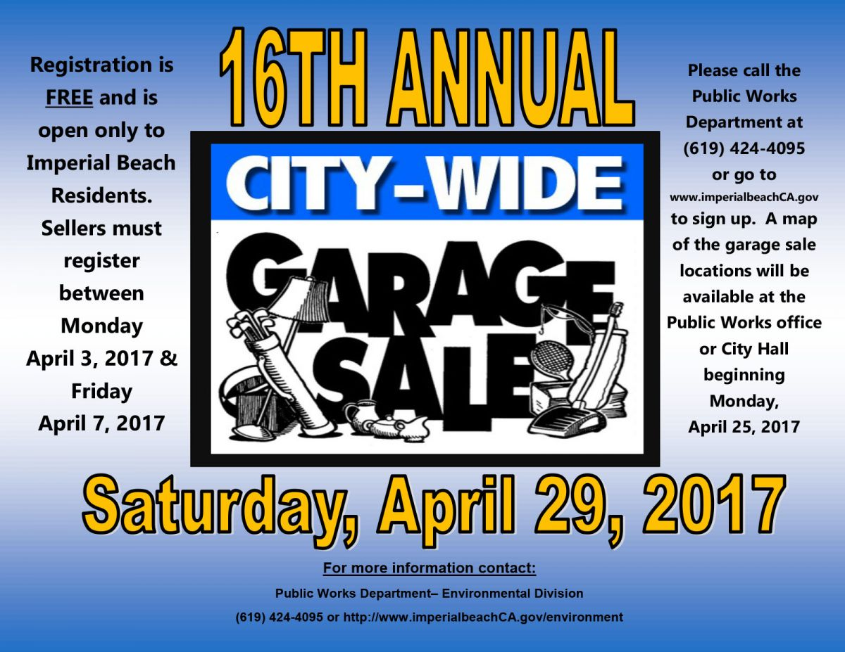 City Wide Garage Sales | Imperial Beach, CALIFORNIA Chamber ... Garage Sales By Map on fishing maps, mafia maps, shopping mall maps, insurance maps, livestock maps, interactive sales maps, department store maps, general maps, seattle washington coast maps, gettysburg maps, employment maps,